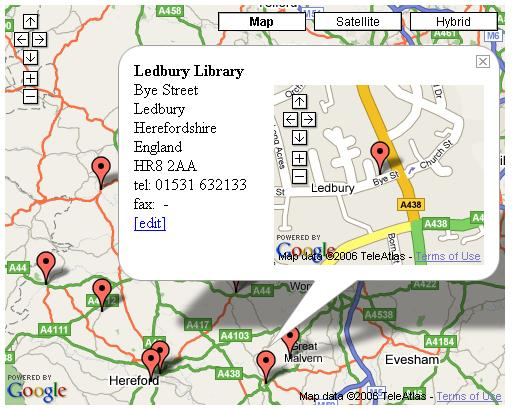 LibMap - showing Ledbury Library's location information
